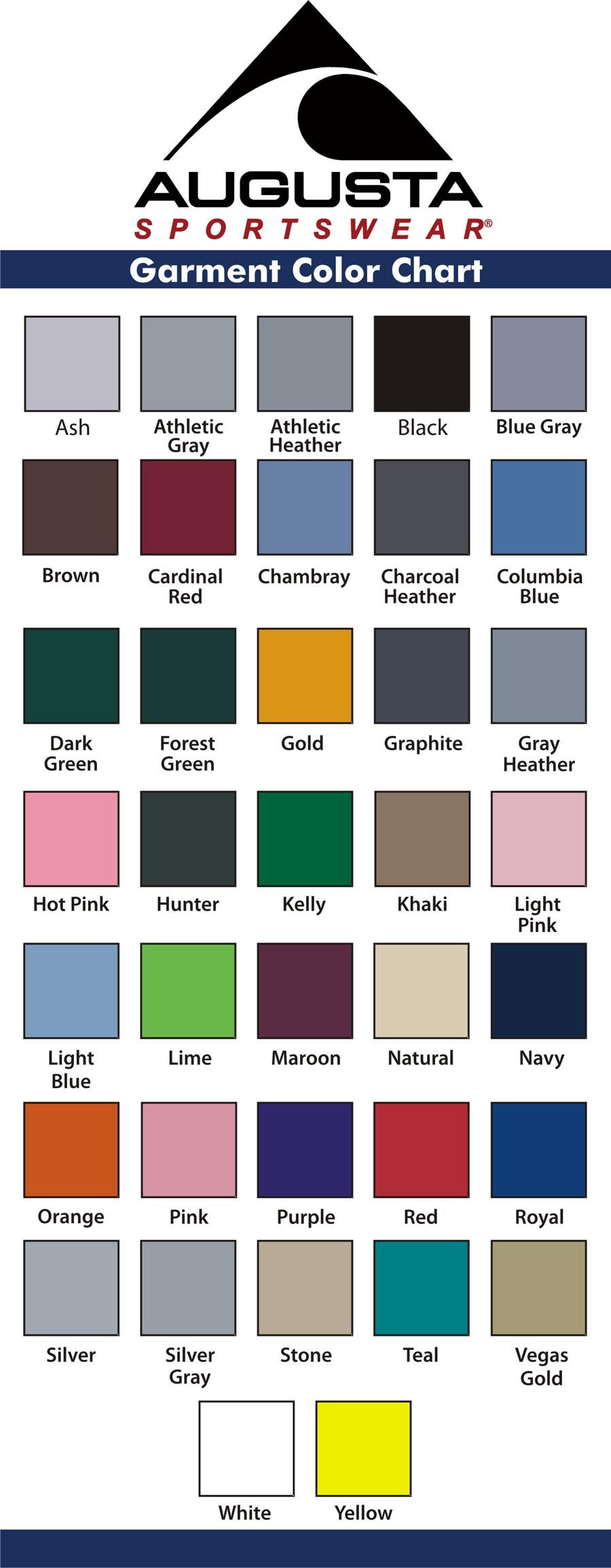 Augusta Swatch Color Chart