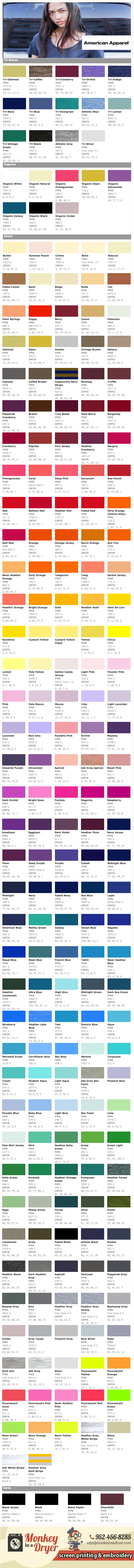 American Apparel Swatch Color Chart