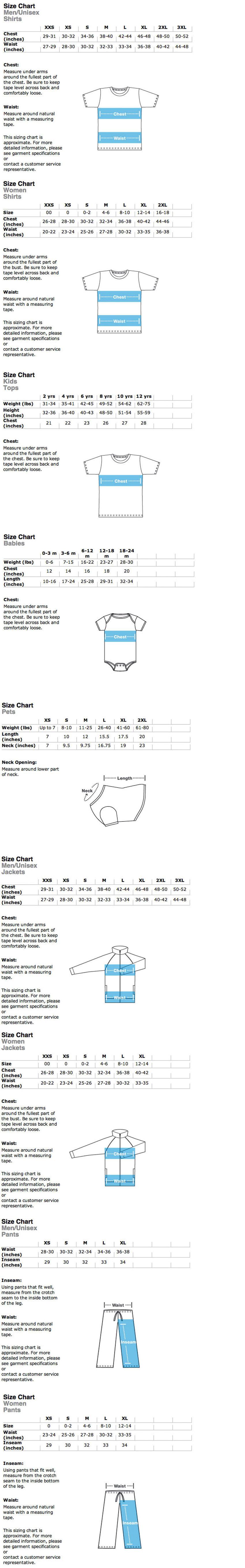 American Apparel Size Chart