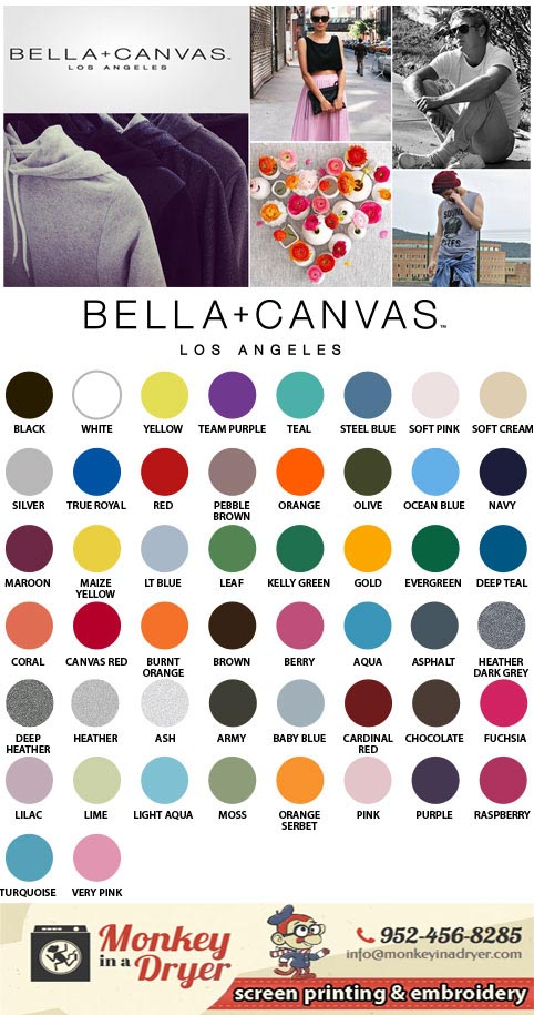 Bella + Canvas Swatch Color Chart