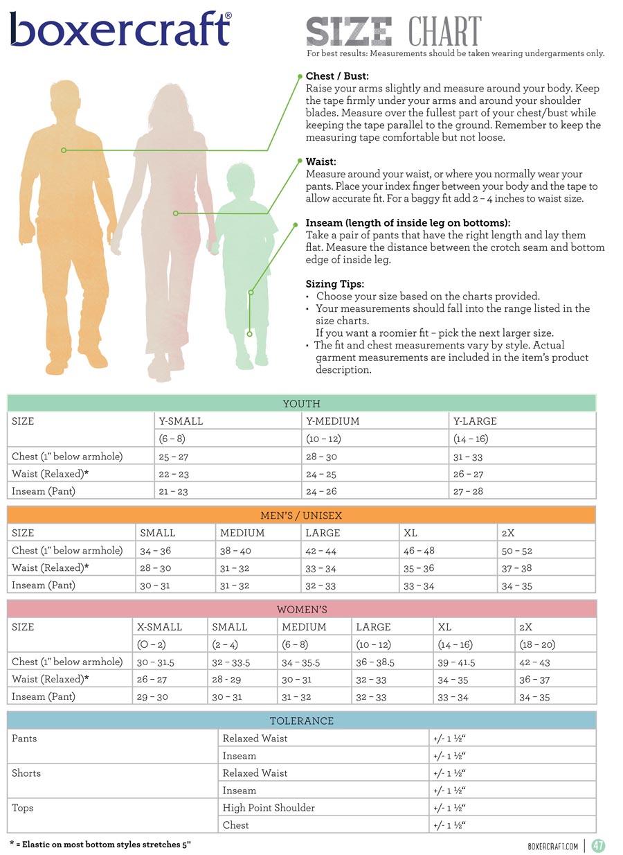 Boxercraft Size Chart