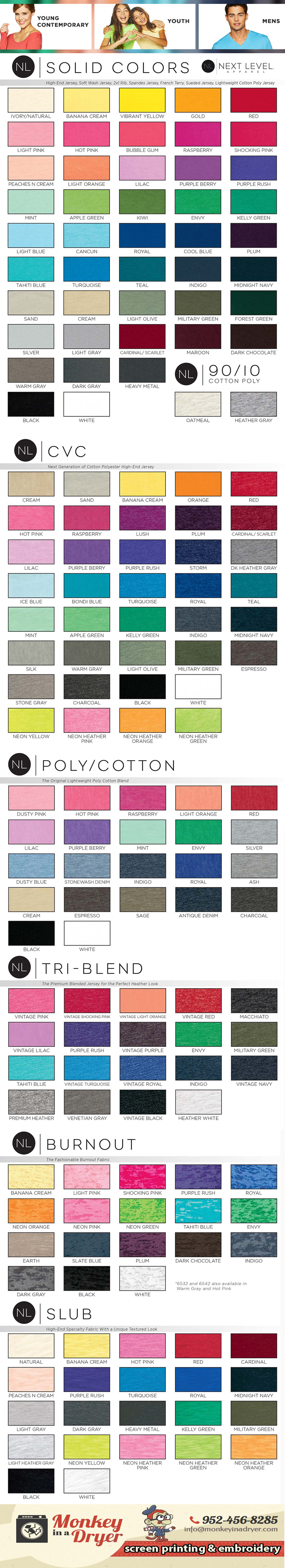 Next Level Apparel Swatch Color Chart