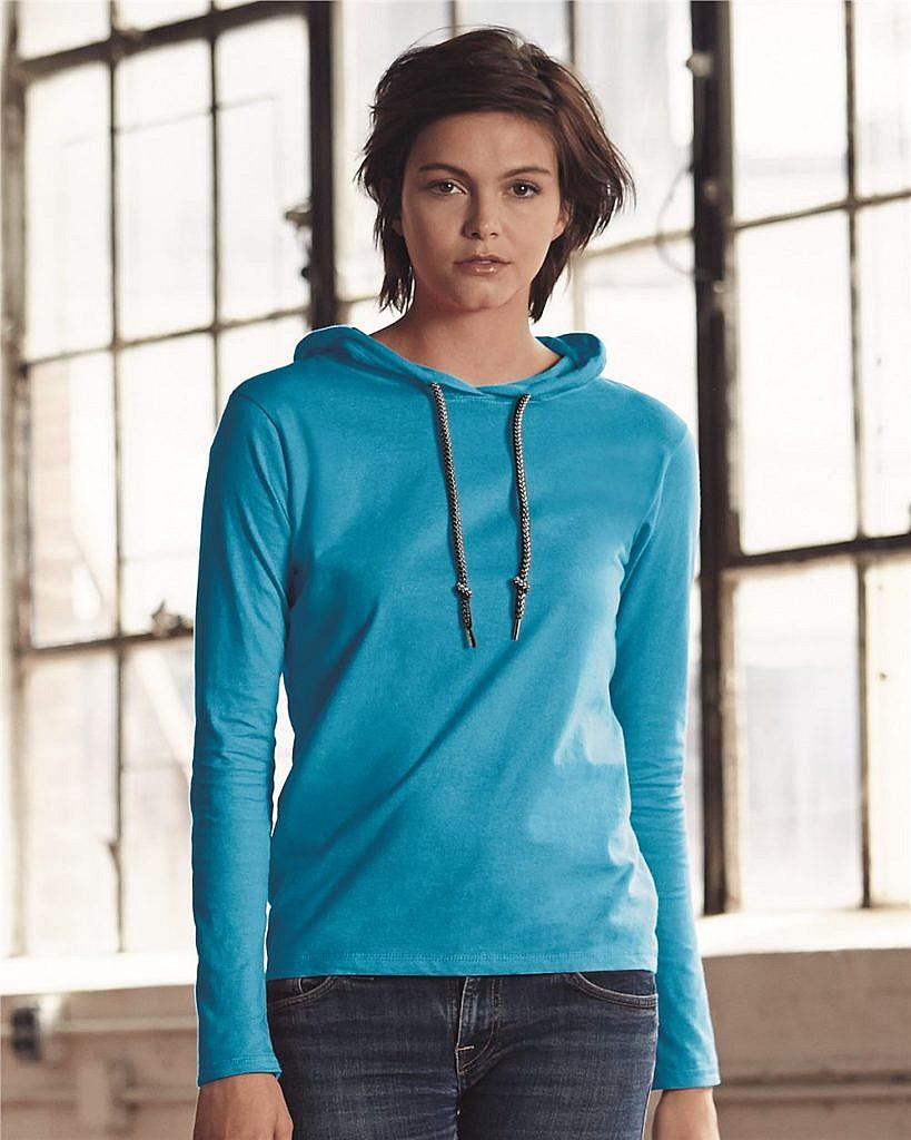 Anvil Women's Lightweight Long Sleeve Hooded T-Shirt