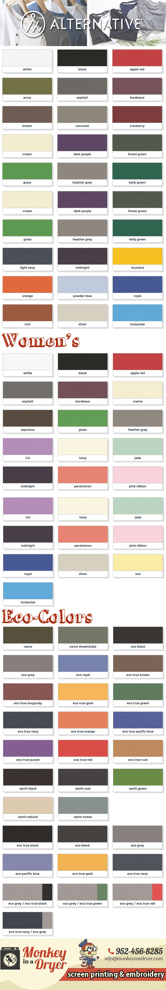 Alternative Apparel Swatch Color Chart