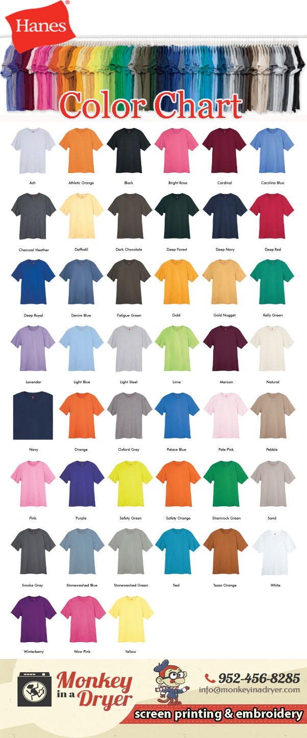Hanes Swatch Color Chart