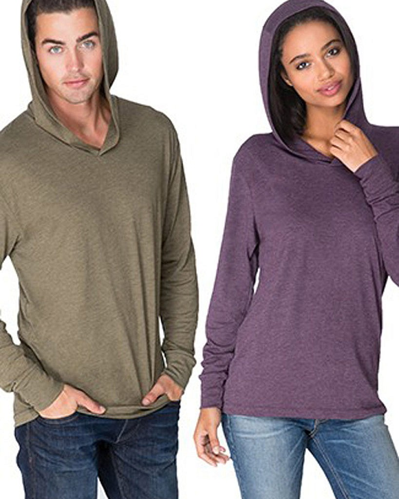 Next Level Apparel Tri Blend Long Sleeve Hooded Shirt