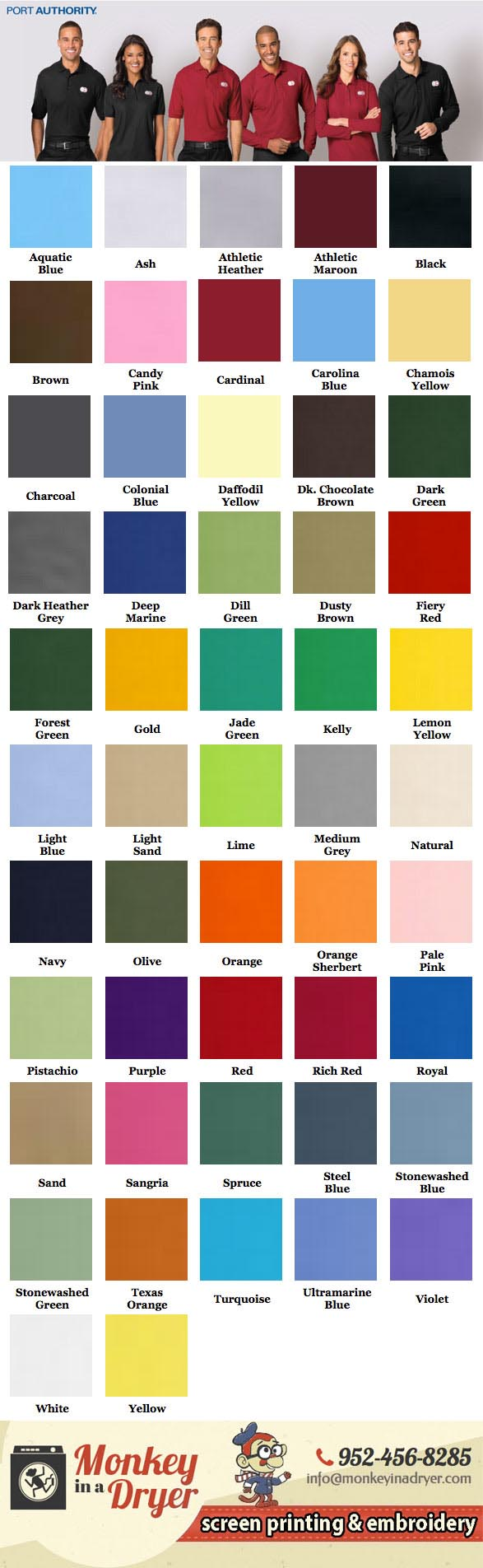 Port Authority Swatch Color Chart